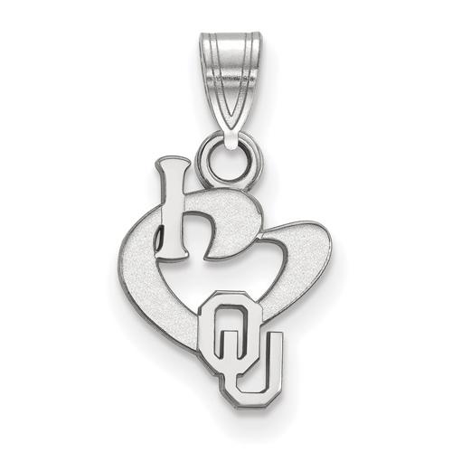 Sterling Silver 1/2in I Love University of Oklahoma Logo Pendant