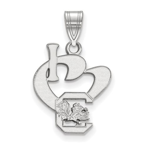 Sterling Silver I Love University of South Carolina Logo Pendant