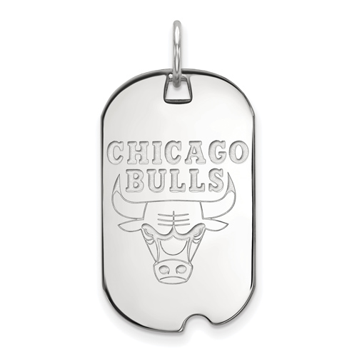 Sterling Silver Small Chicago Bulls Dog Tag