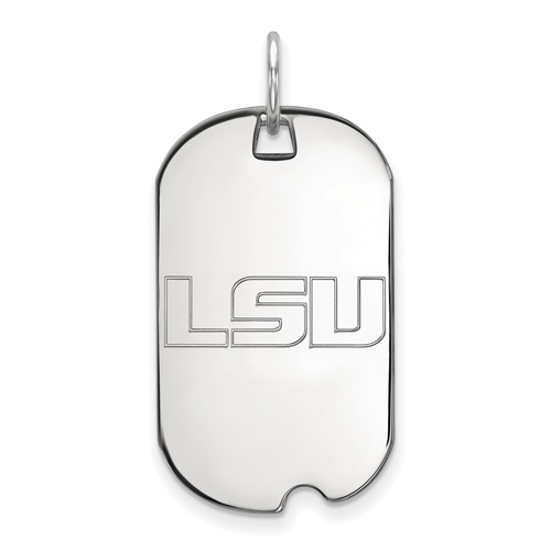 14kt White Gold Louisiana State University Small Dog Tag