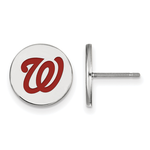 Sterling Silver Washington Nationals Small Enamel Post Earrings