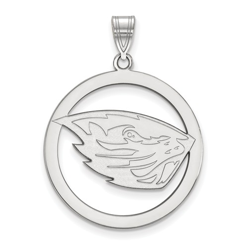 Sterling Silver 1in Oregon State University Logo Pendant in Circle