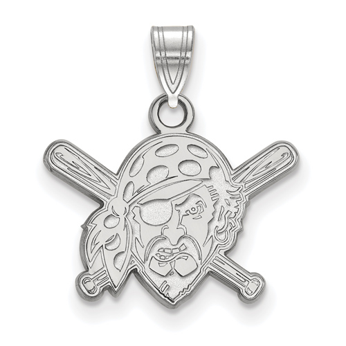 Sterling Silver 1/2in Pittsburgh Pirates Crossed Bats Pendant