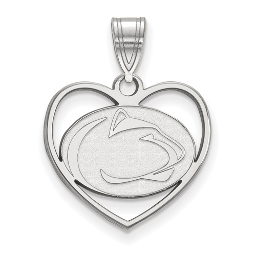 Sterling Silver 5/8in Penn State University Pendant in Heart