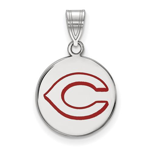 Sterling Silver 5/8in Round Cincinnati Reds Enamel Pendant