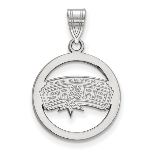 Sterling Silver 5/8in San Antonio Spurs Circle Pendant