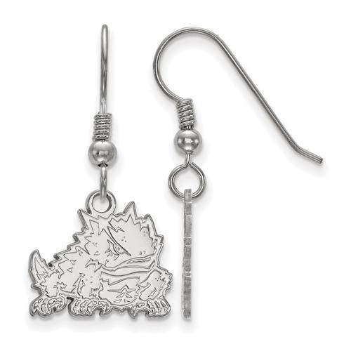 Sterling Silver Texas Christian University Dangle Wire Earrings