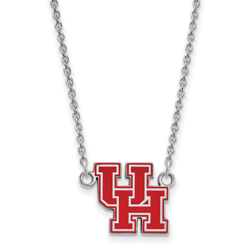Sterling Silver 1/2in University of Houston UH Enamel Pendant with 18in Chain