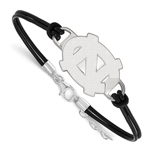 Silver University of North Carolina Leather Bracelet Large Center