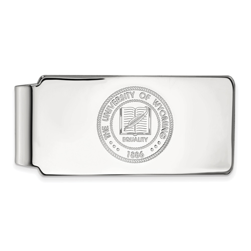 Sterling Silver University of Wyoming Crest Money Clip