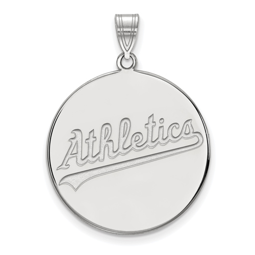 14k White Gold 1in Oakland A's Logo Pendant