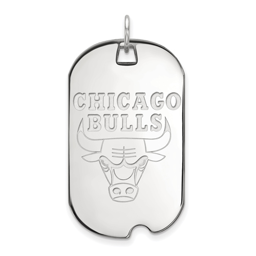 Sterling Silver 1 1/2in Chicago Bulls Dog Tag