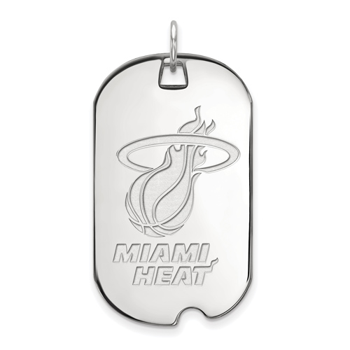 Sterling Silver 1 1/2in Miami Heat Dog Tag