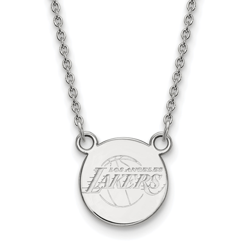 Sterling Silver 5/8in Round Los Angeles Lakers Pendant