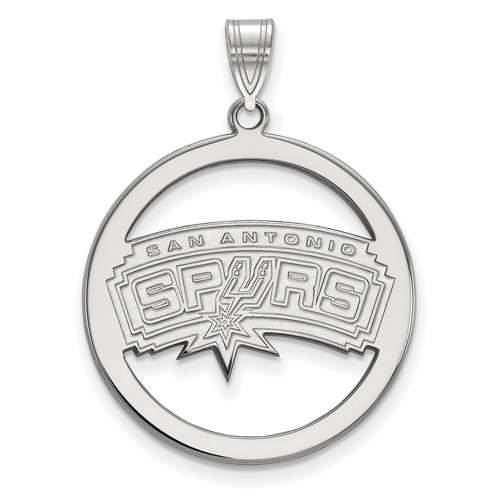 Sterling Silver 1in San Antonio Spurs Circle Pendant