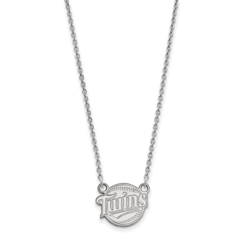 Sterling Silver 1/2in Minnesota Twins Baseball Pendant on 18in Chain