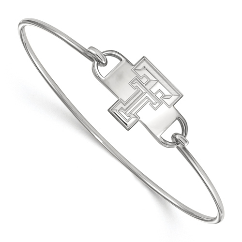 Sterling Silver 8in Texas Tech University Small Center Wire Bangle