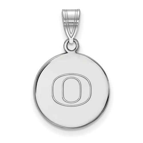 Sterling Silver 5/8in University of Oregon O Disc Pendant