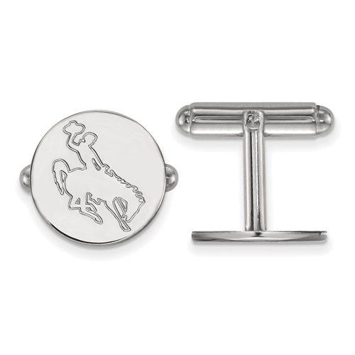 Sterling Silver University of Wyoming Round Cuff Links