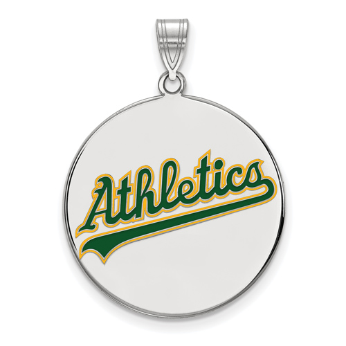 Sterling Silver 1in Oakland A's Enamel Logo Pendant