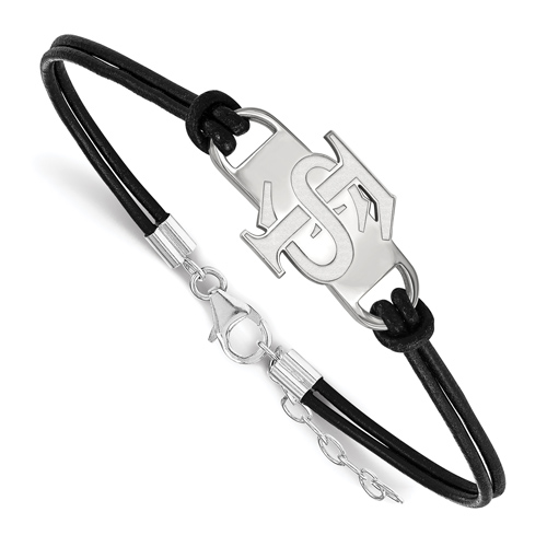 Sterling Silver Florida State University Leather Bracelet Small Center
