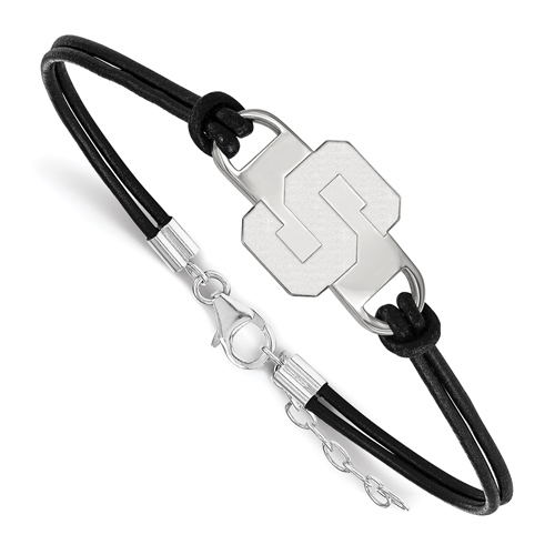Sterling Silver 7in Michigan State University Block S Leather Bracelet Small Center