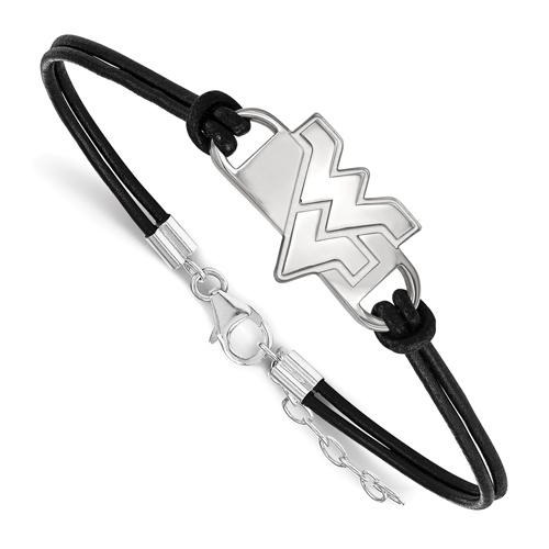 Sterling Silver West Virginia University Leather Bracelet Small Center