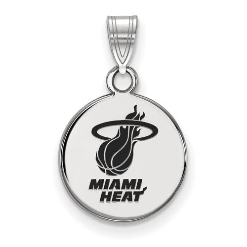 Sterling Silver 1/2in Round Miami Heat Enamel Pendant