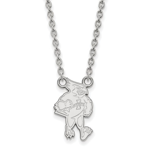 Iowa State University Cy Necklace 14k White Gold
