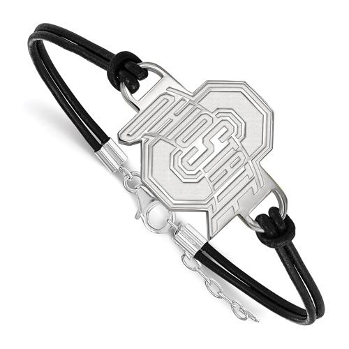 Sterling Silver Ohio State University Leather Bracelet Large Center