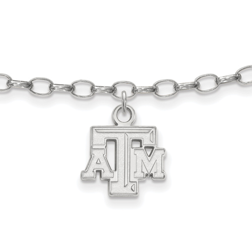 Sterling Silver 9in Texas A&M University Anklet