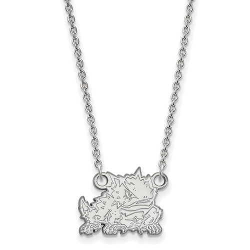 Silver 1/2in Texas Christian University Horned Frog 18in Necklace