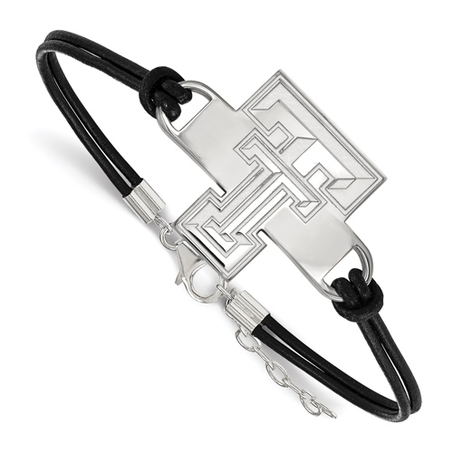 Sterling Silver Texas Tech University Leather Bracelet Large Center