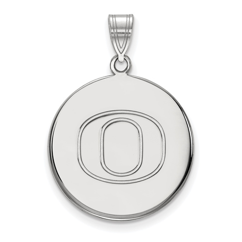 Sterling Silver 3/4in University of Oregon Disc Pendant
