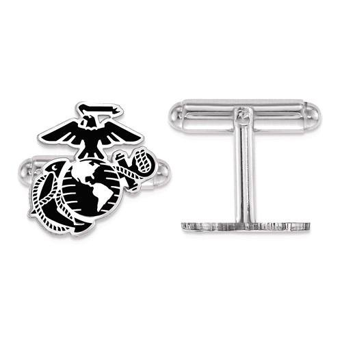 Sterling Silver Black Epoxy USMC Eagle Globe and Anchor Cuff Links
