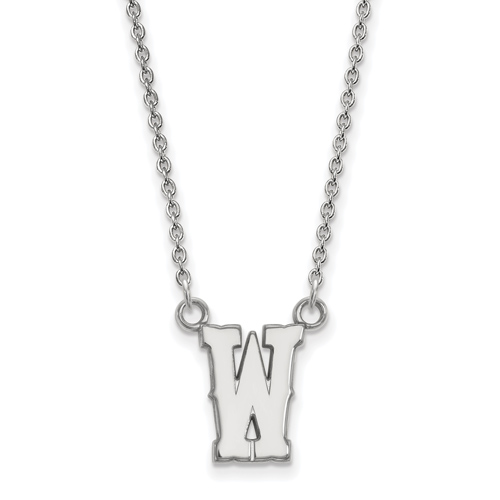 Sterling Silver 1/2in University of Wyoming W Pendant with 18in Chain