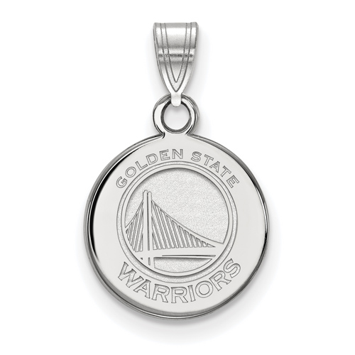 Sterling Silver 1/2in Golden State Warriors Disc Pendant