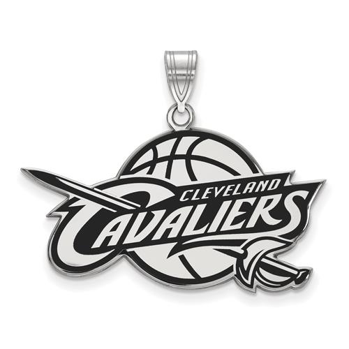 Sterling Silver 5/8 Cleveland Cavaliers Logo Enamel Pendant