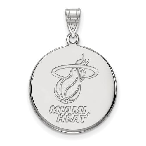 Sterling Silver 3/4in Round Miami Heat Pendant