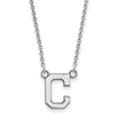 10k White Gold 1/2in Cleveland Indians C Pendant on 18in Chain