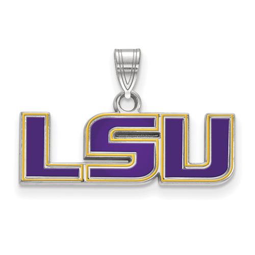 Sterling Silver 3/8in Louisiana State University LSU Enamel Pendant