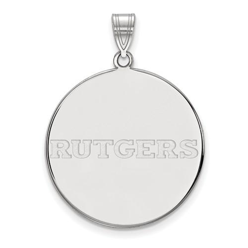 14k White Gold Rutgers University Disc Pendant 1in