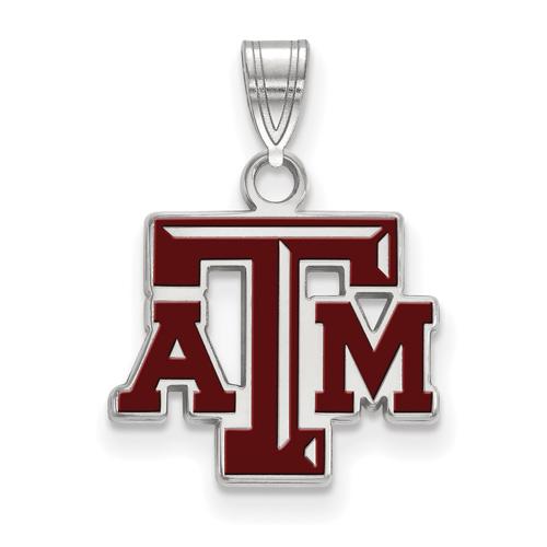 Sterling Silver 1/2in Texas A&M University Enamel Pendant
