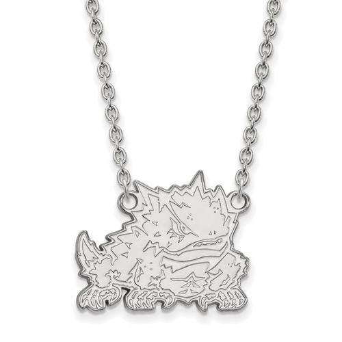 Silver Texas Christian University Horned Frog Pendant with 18in Chain