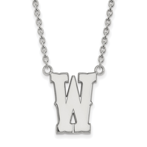 Sterling Silver University of Wyoming W Pendant with 18in Chain