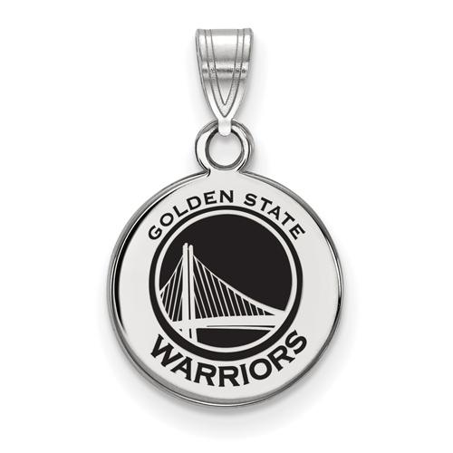 Sterling Silver 1/2in Golden State Warriors Enamel Disc Pendant