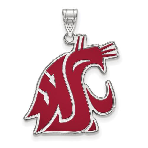 Sterling Silver 1in Washington State University Cougar Head Enamel Pendant