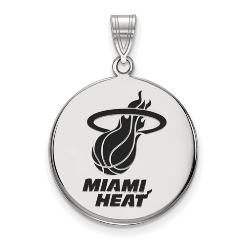 Sterling Silver 3/4in Round Miami Heat Enamel Pendant