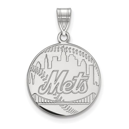 Sterling Silver 3/4in New York Mets Baseball Skyline Pendant