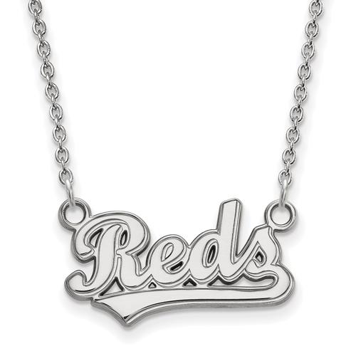 14k White Gold Cincinnati Reds Script Pendant on 18in Chain